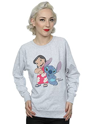 Disney Womens Classic Lilo & Stitch Sweatshirt X-Small Heather Grey