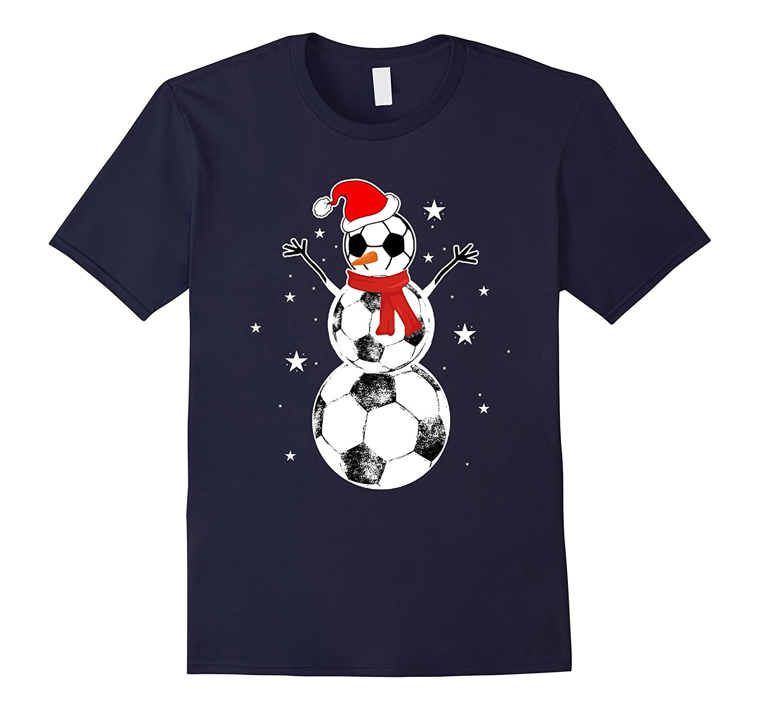Christmas Soccer Snowman T-Shirt-RT