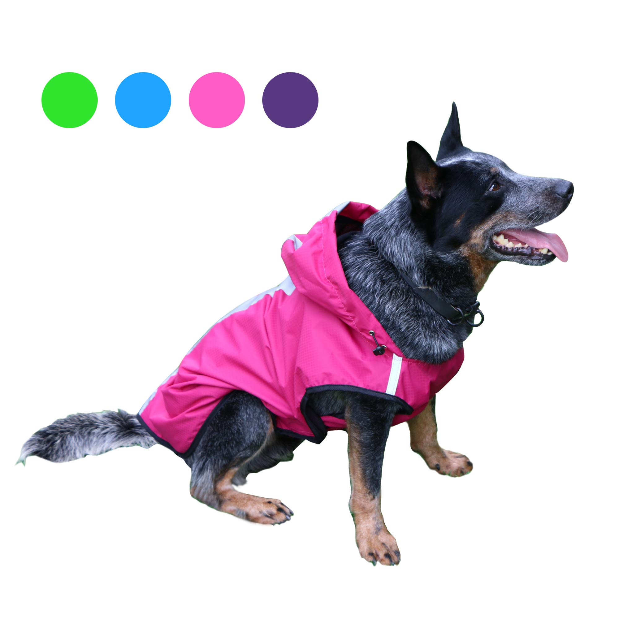 Kamots Beauty Dog Waterproof Raincoat, Lightweight Packable Jacket with Reflective Stripes for High Visibility Safety- Adjustable Hood Poncho for Small Medium Large Dogs (red XXXL) by Kamots Beauty