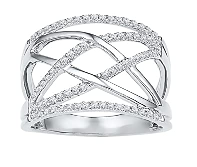 c4d147333823a3 Amazon.com: 10K White Gold Diamond Criss Cross Crossover Cocktail ...