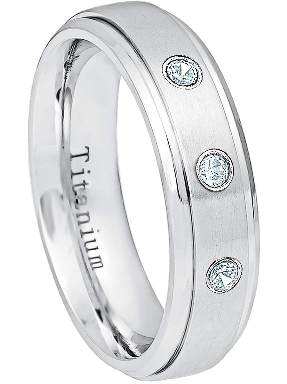 0.21ctw Aquamarine 3-Stone Titanium Ring 6MM Brushed Finish Comfort Fit Stepped Edge White Wedding Band March Birthstone Ring