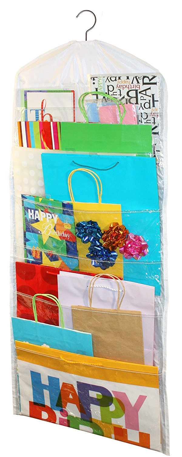 AOTUNO Double-Sided Hanging Gift Bag Organizer Storage for Gift Bags, Bows, Ribbon,with Clear Pockets.