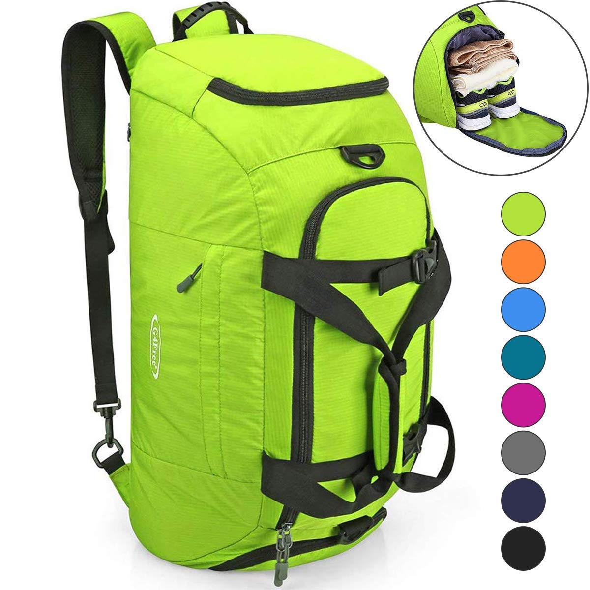 G4Free 3-Way Duffle Backpack Gym Bag for Men Women Sports Duffel Bag with Shoe Compartment Travel Backpack Luggage 40L by G4Free