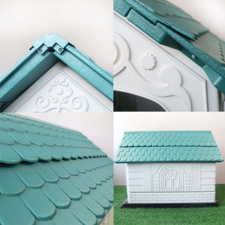 Nobleza - Caseta para Perros de Polipropileno Impermeable con tejado a Dos Aguas para Interior y Exterior. Blanco y Verde: Amazon.es: Productos para ...