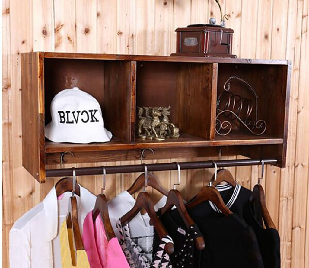 コートラック, コートラックの衣類店の服木製のディスプレイスタンドレトロ壁に取り付けられたサイドマウントされた吊り下げ式ラック棚棚 (Size : L90*W30*H45cm) B07SLWL2X2  L90*W30*H45cm