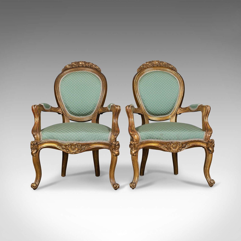 Par de Antique, Louis XV Revival, Sillones Abiertos. Francés ...