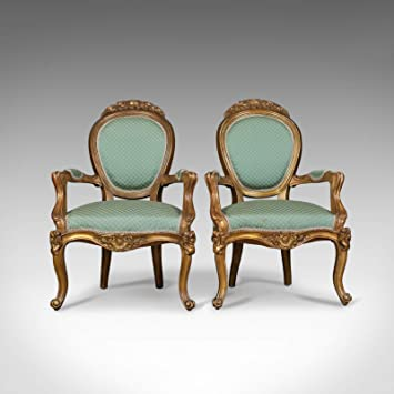 Par de Antique, Louis XV Revival, Sillones Abiertos. Francés ...