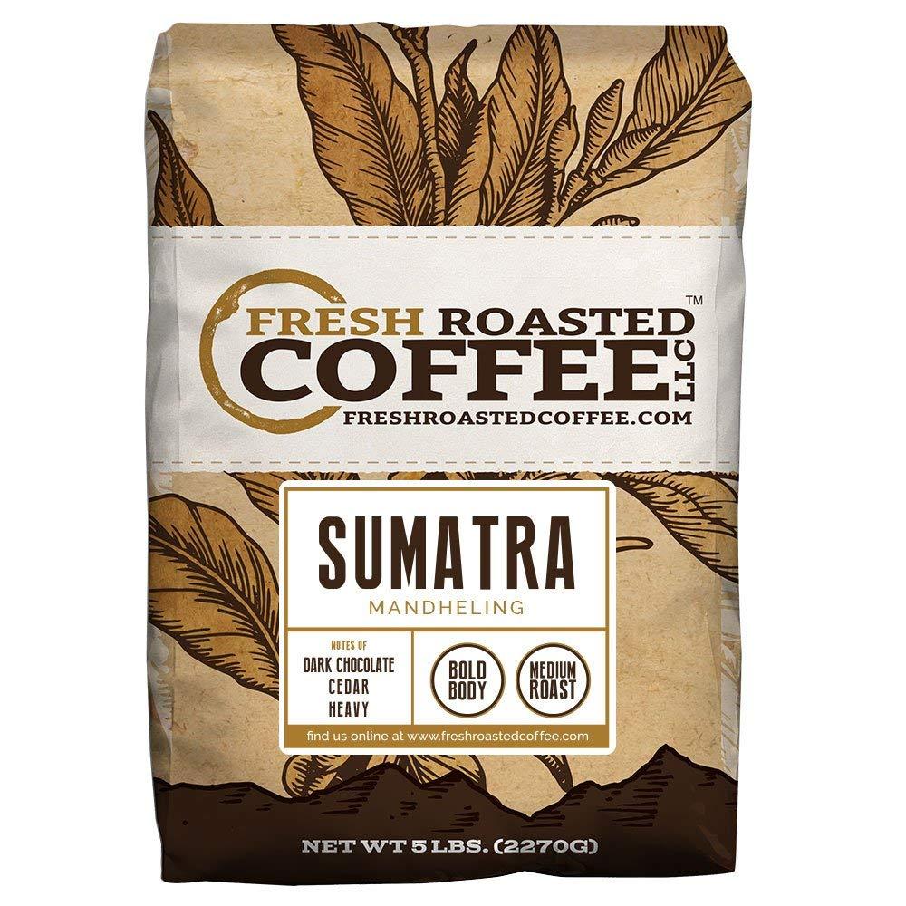 Fresh Roasted Coffee LLC, Sumatra Mandheling Coffee, Medium Roast, Low Acidity, Whole Bean, 5 Pound Bag