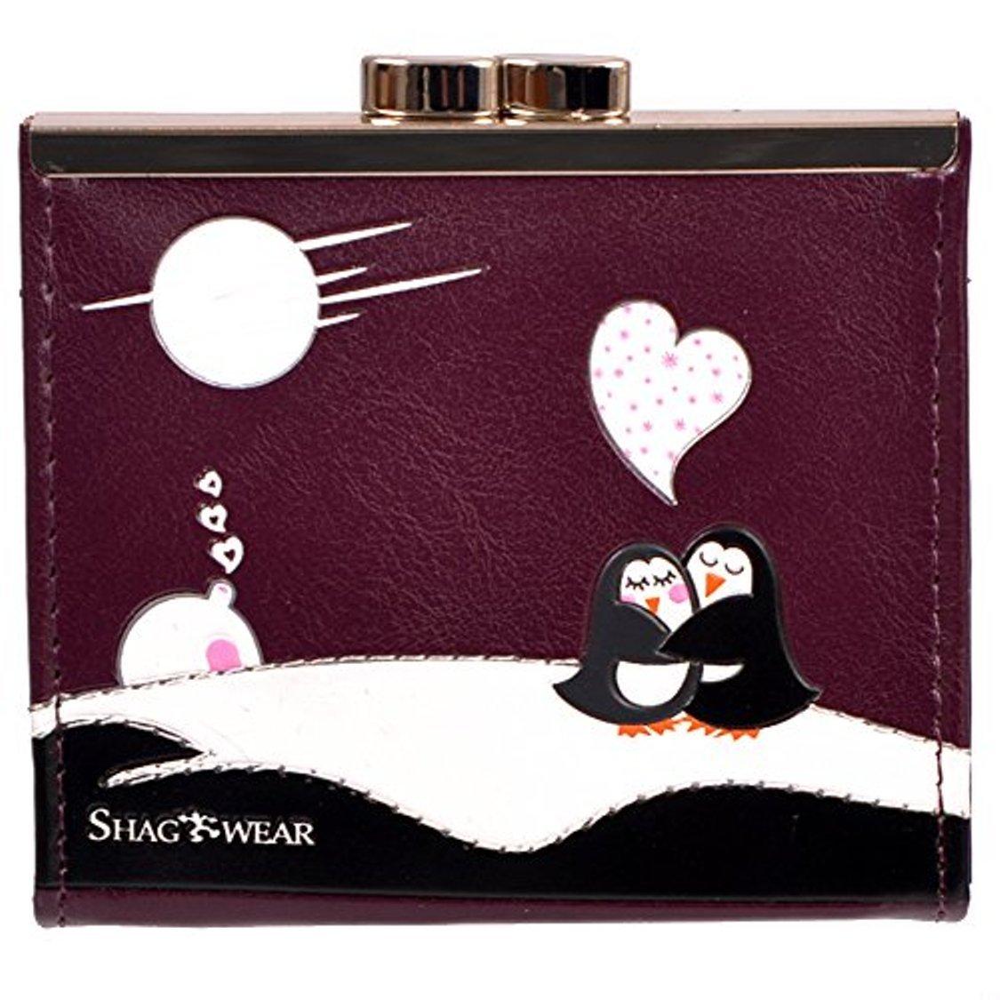 Shag Wear Women's Coin Purse Maroon Love Penguins