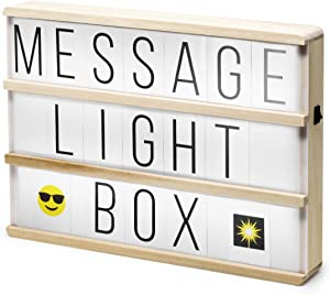 Hearth & Haven Wooden Cinema Light Box Light Up Sign Marquee Changeable Letter Board with Letters