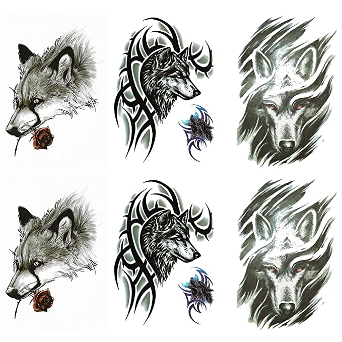 Costume New Age Wolf Temporary Tattoo Big Colorful Night Wolf Composite Temporary Tattoo Wolf Temporary Tattoo Costume Accessories