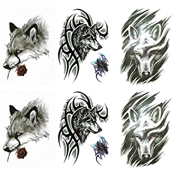 Yesallwas 6 Sheets Large Fake Wolf Tattoos For Men Women Tribal Wolf Tattoo Temporary Waterproof Long Lasting Tattoos Stickers For Arm Shoulders Chest