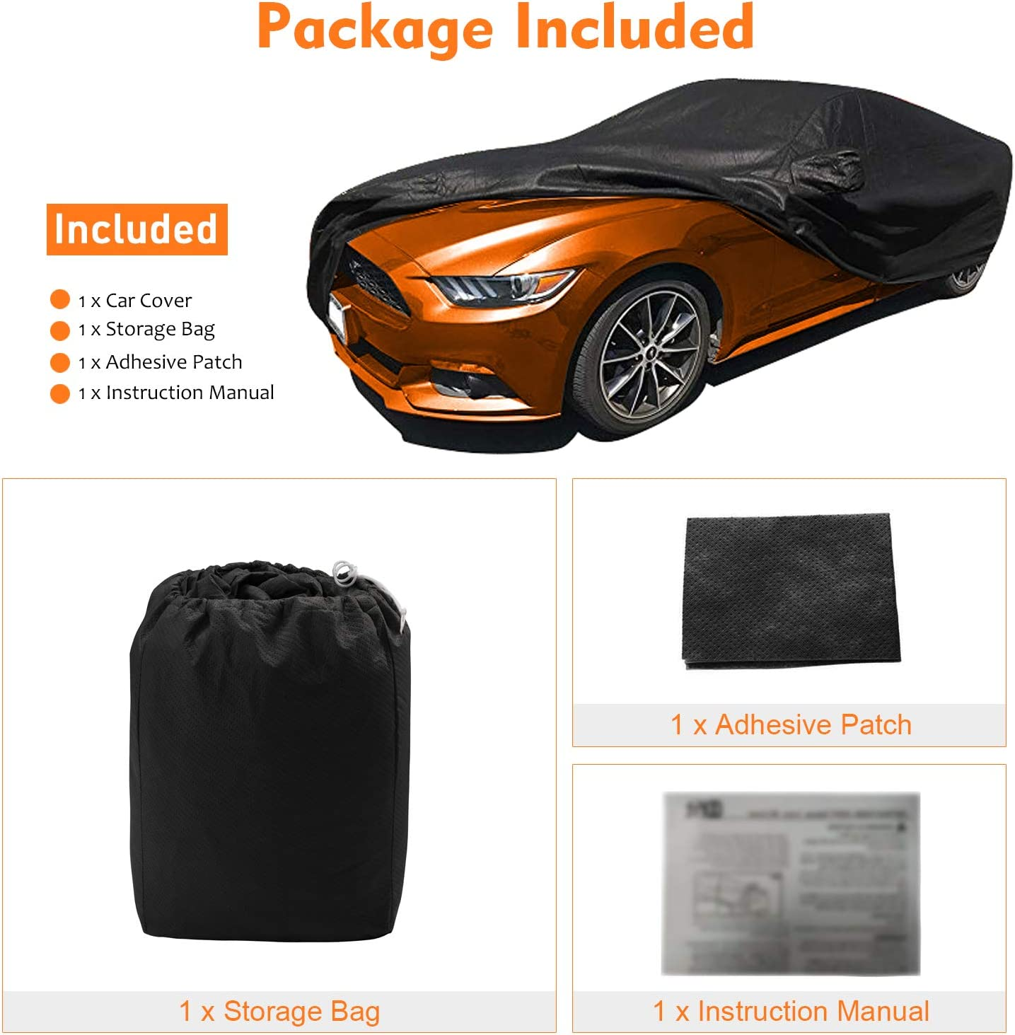 Windproof All Weather Scratch Resistant Outdoor UV Protection with Free Windproof Ribbon /& Adhesive Repair Patch OOFIT Customer Fit Ford Mustang Car Cover for 2005-2014