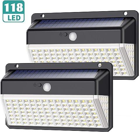 Luz Solar Exterior 118 LED, Yacikos [Nueva Versión de Ahorro de energía Verde -1000LM] Foco Solar Exterior con Sensor de Movimiento, Luces Solares Jardín 2200mAh Lámpara Solar Impermeable -2 Piezas: Amazon.es: Hogar