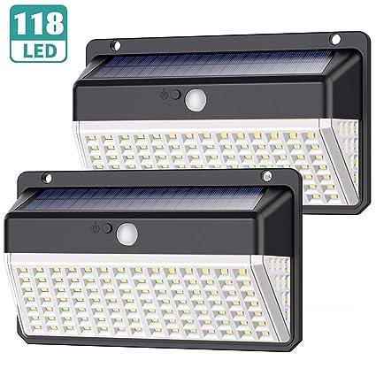 Luz Solar Exterior 118 LED, Yacikos [Nueva Versión de Ahorro de Energía Verde -1000LM] Foco Solar Exterior con Sensor de Movimiento, Luces Solares ...