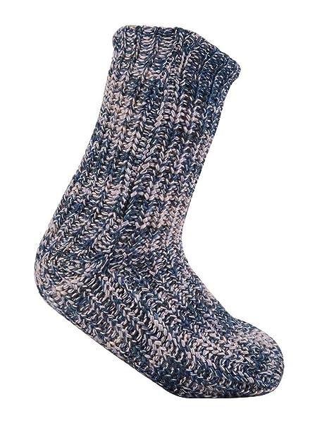 Calcetines de señoras Chunky Knit o Fleece Gripper y forro polar suave de Sherpa: Amazon.es: Ropa y accesorios