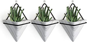 PUDDING CABIN 3Pack Triangle Wall Planters for Succulent Ceramic Hanging Planters for Home Decor Home Gift