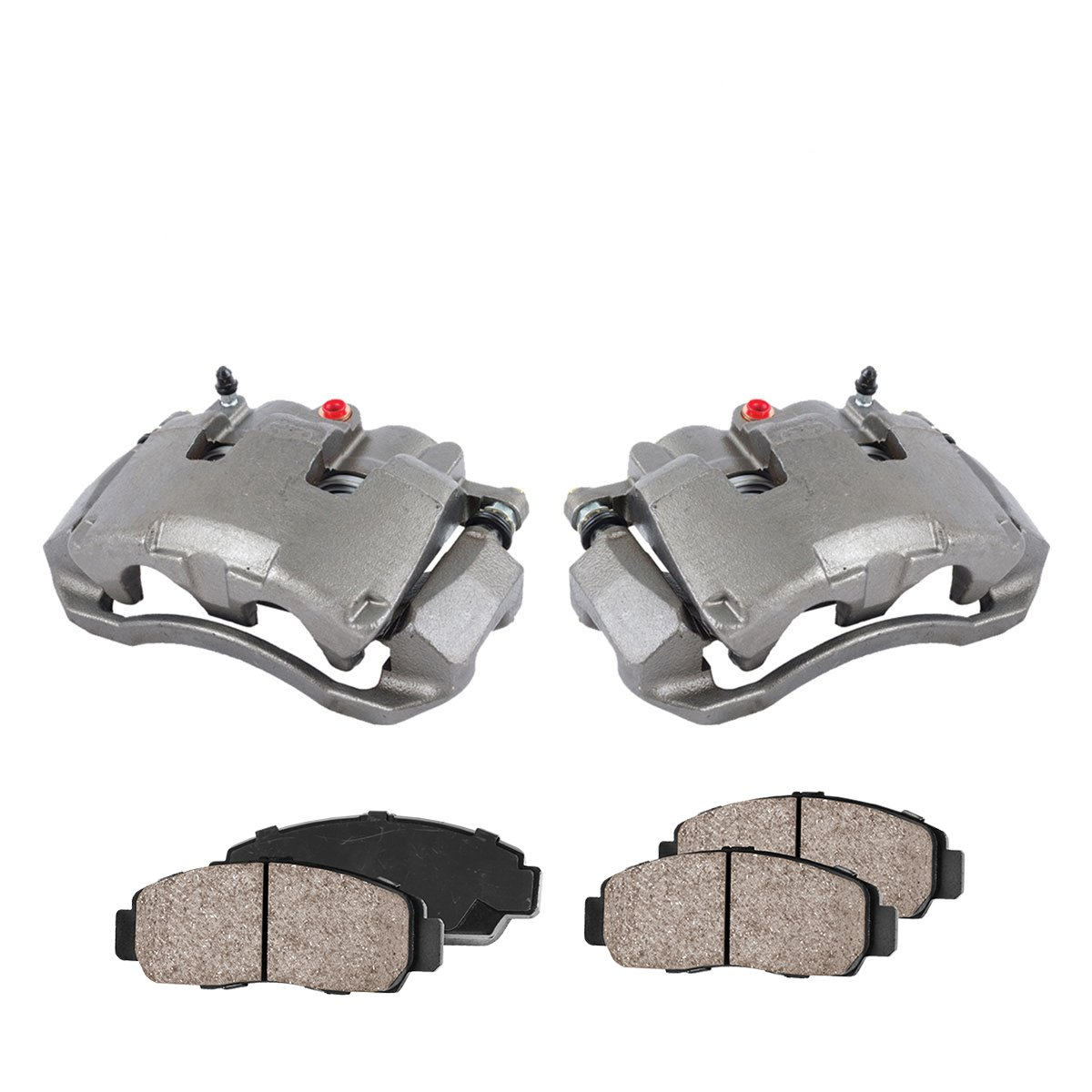 COEK00388 [2] FRONT Premium Loaded OE Caliper Assembly Set + Quiet Low Dust Ceramic Brake Pads Callahan Brake Parts