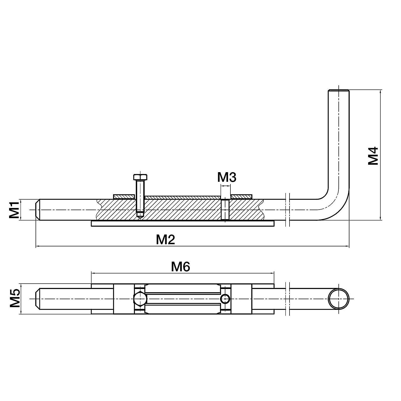 SO-TOOLS/® Gartentorriegel 520 mm Gartentorverriegelung Bolzenriegel Schubriegel