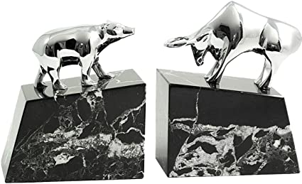 389a20033ce Image Unavailable. Image not available for. Color  Silver Bull and Bear  Bookends