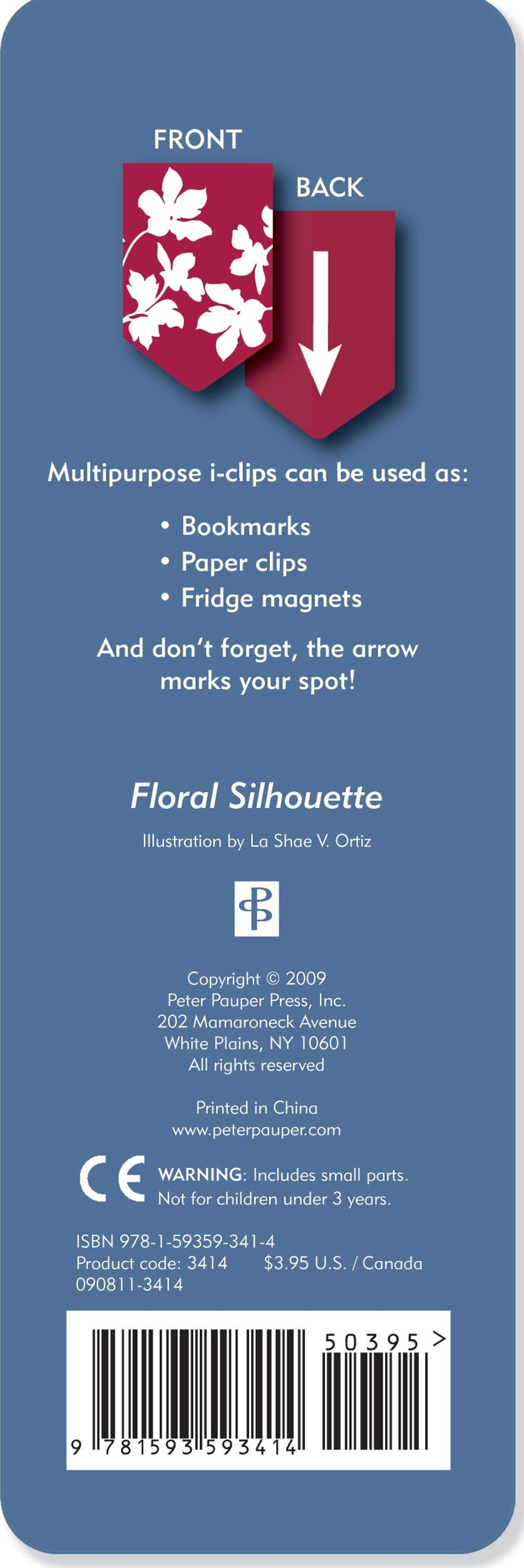 Floral Silhouette i-Clip Magnetic Page Markers (Set of 8 Magnetic Bookmarks) by Peter Pauper Press (Image #1)