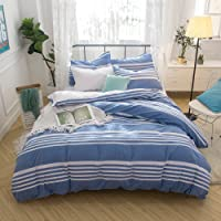 Hibertex Seersucker Stripe 100% Cotton Yarn Dyed Quilt Cover Set - Queen Blue