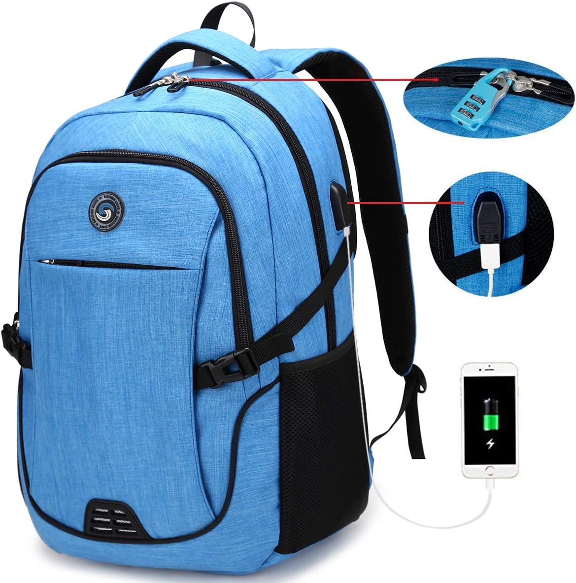 SOLDIERKNIFE Durable Waterproof Anti Theft Laptop Backpack Travel Backpacks Bookbag with usb Charging Port for Women & Men School College Students Backpack Fits 15.6 Inch Laptop Sky Blue
