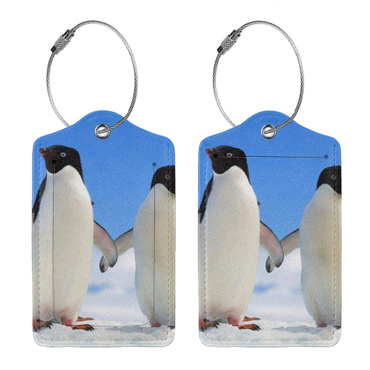 Cute-Two-Penguins Leather Luggage Tags Personalized Flexible Custom Travel Tags With Adjustable Strap