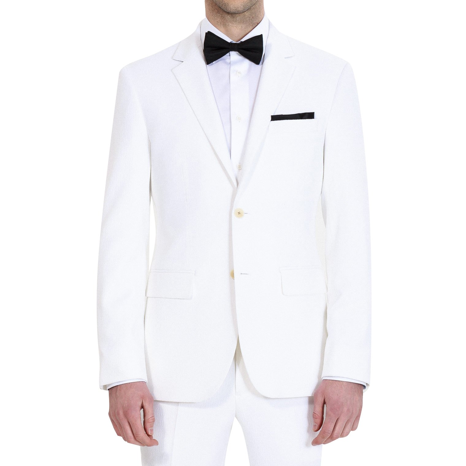 HBDesign Mens 2 Piece 2 Button Notch Lapel Slim Trim Fit Dress Suite White 58R