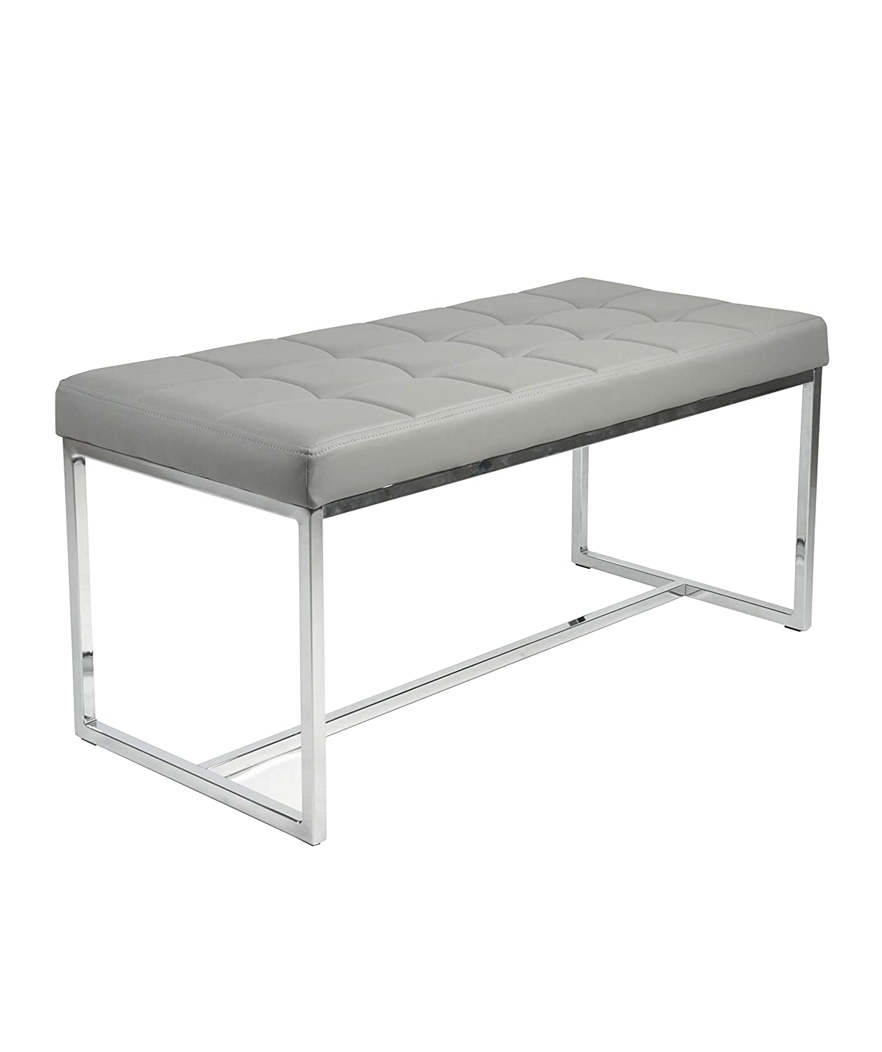 Manchester Furniture Supplies New York Modern Cushioned Leather & Chrome Dining Bench (Grey)
