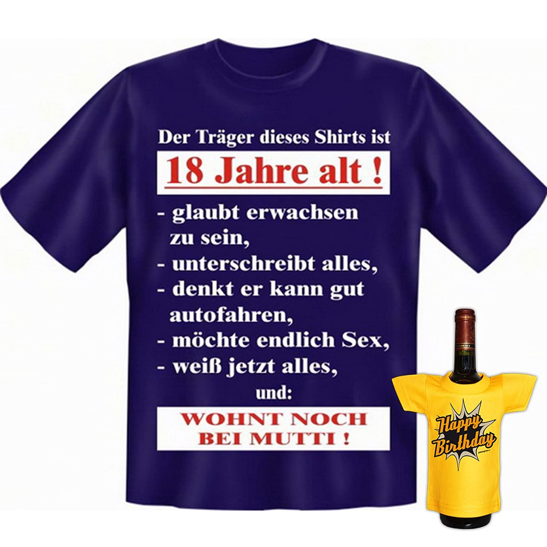 GoodmanDesign Geschenk Set Zum 18. Geburtstag Zur Volljährigkeit Wohnt Noch  Bei Mutti Lustiges T Shirt Und BIRTHDAY Flaschenshirt : ): Amazon.de:  Bekleidung