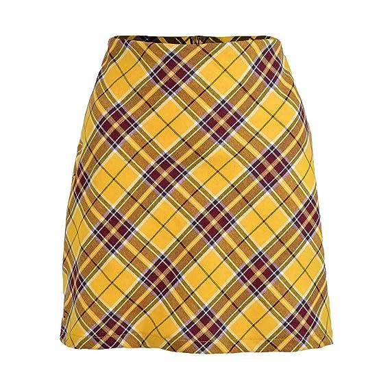 QIjinlok Falda Cuadros Mujer Falda Corta Escocesa Falda Corta ...