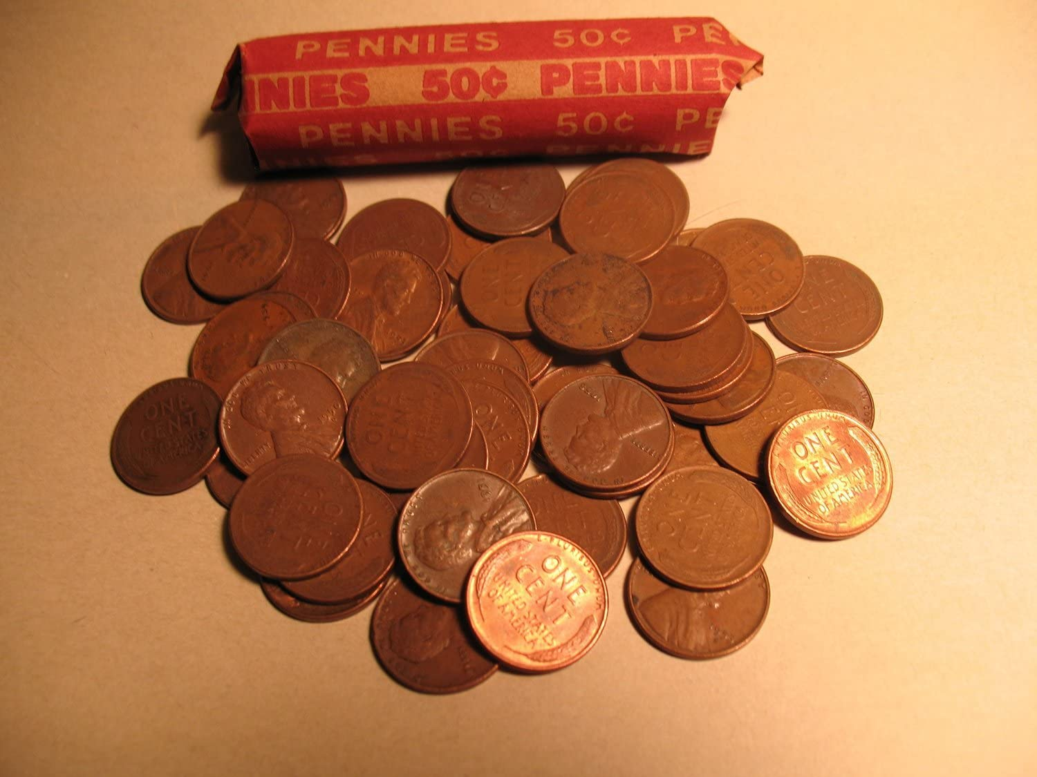 MIXED DATES  OF 1940/'S WHEAT CENT ROLL-AVG CONDITION  ROLL COINS PENNY