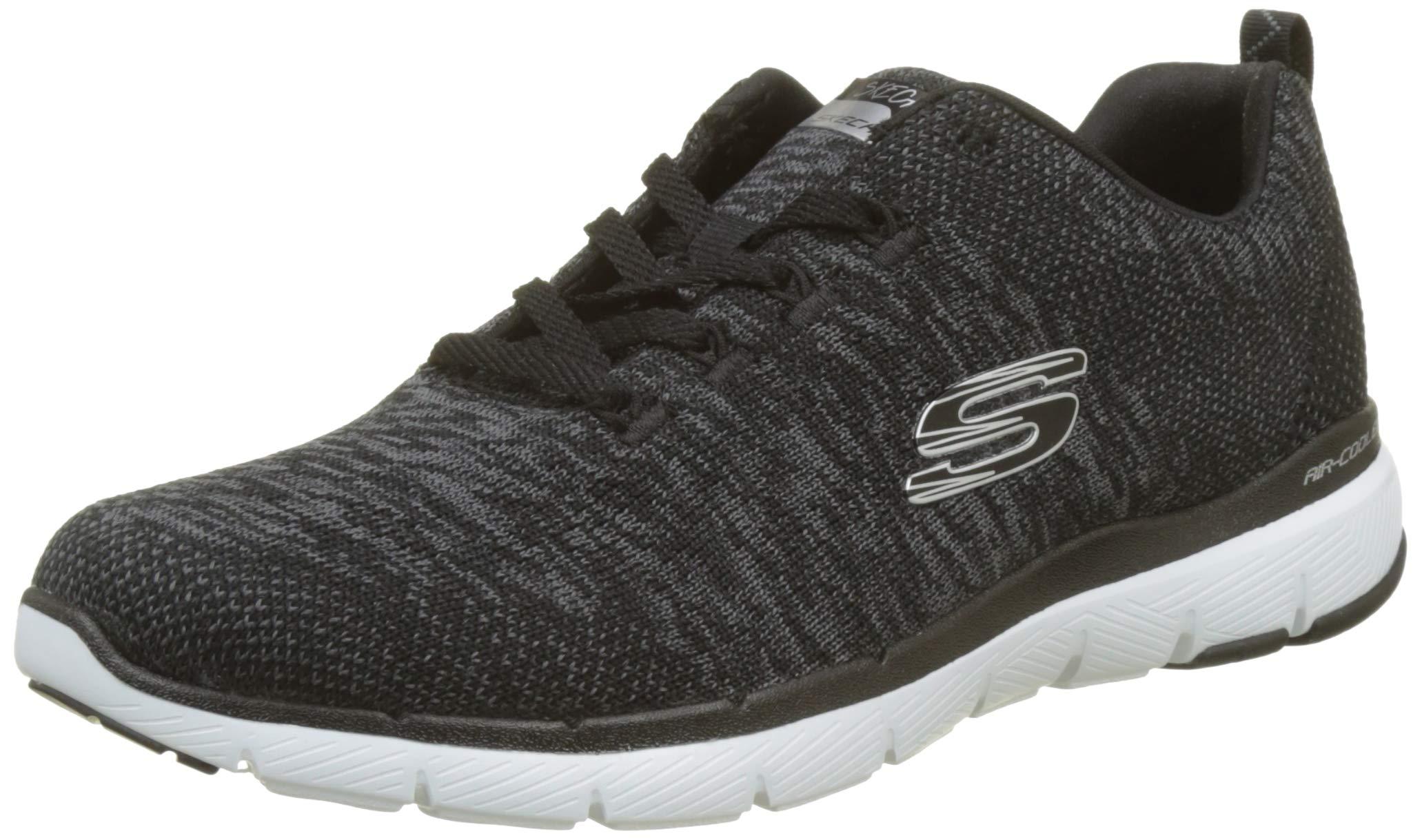 Skechers Women's Flex Appeal 2.0 Sneaker,Black/White,8.5 M US