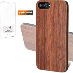 """iProductsUS Real Wood Phone Case Compatible with iPhone SE (2020), iPhone 8, 7, 6/6S and Screen Protector, Blank Dark Cherry Wood Cases, Built-in Metal Plate, TPU Shockproof Protective Cover (4.7"""")"""