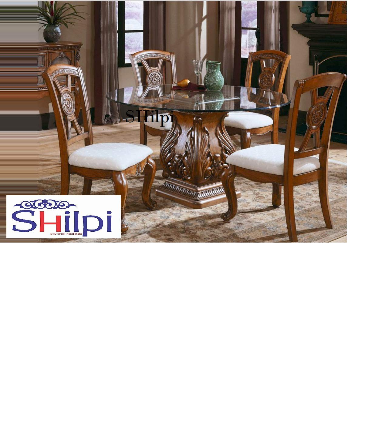 Shilpi Shessham Wood Dining Table With 4 Chair Set Without Glass Top Design 6 Amazon In Home Kitchen
