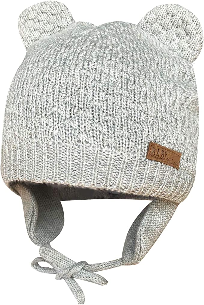 Baby Beanie Hat Boys Cap With Ears Winter Knitted Warm Fleece Lined Bear 0-6 Mth