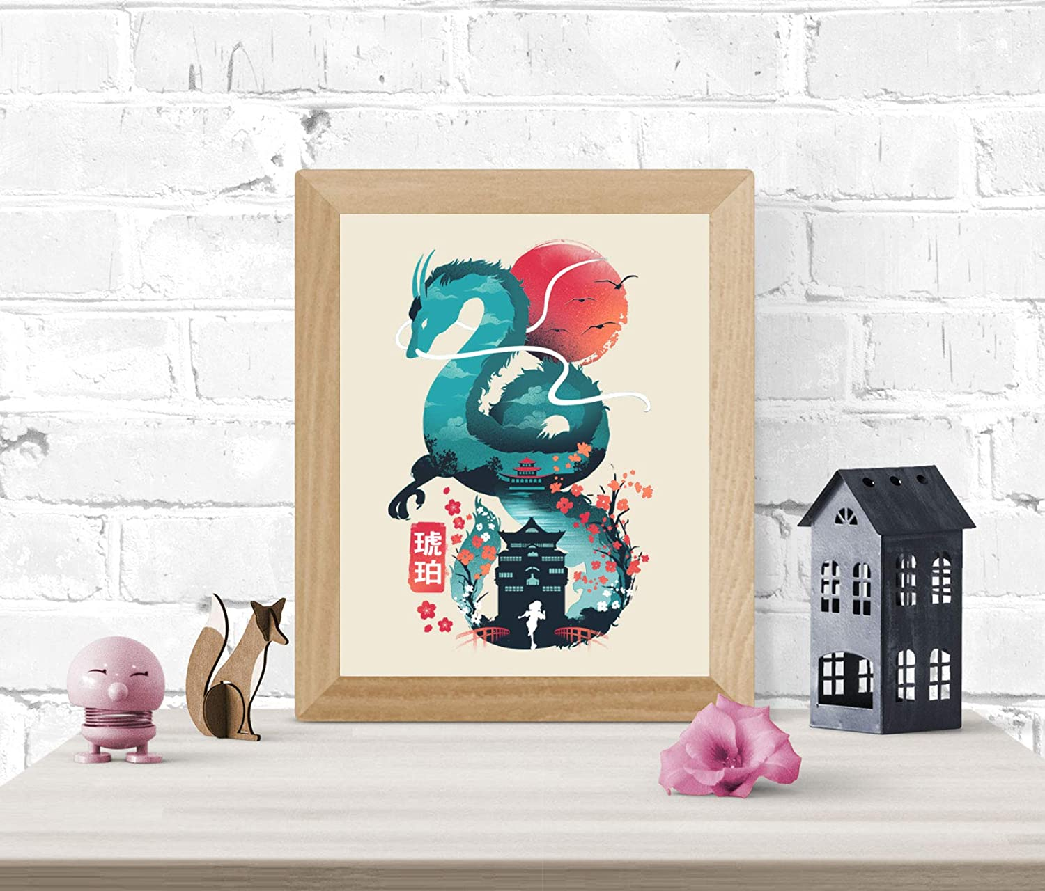 Amazon Com Spirited Away Art Print Studio Ghibli Wall Art 8 X 10 Unframed Japanese Anime Artwork Haku Dragon Print Hayao Miyazaki Wall Hanging Cool Movie Home Decor Chihiro Bathhouse Illustration Handmade