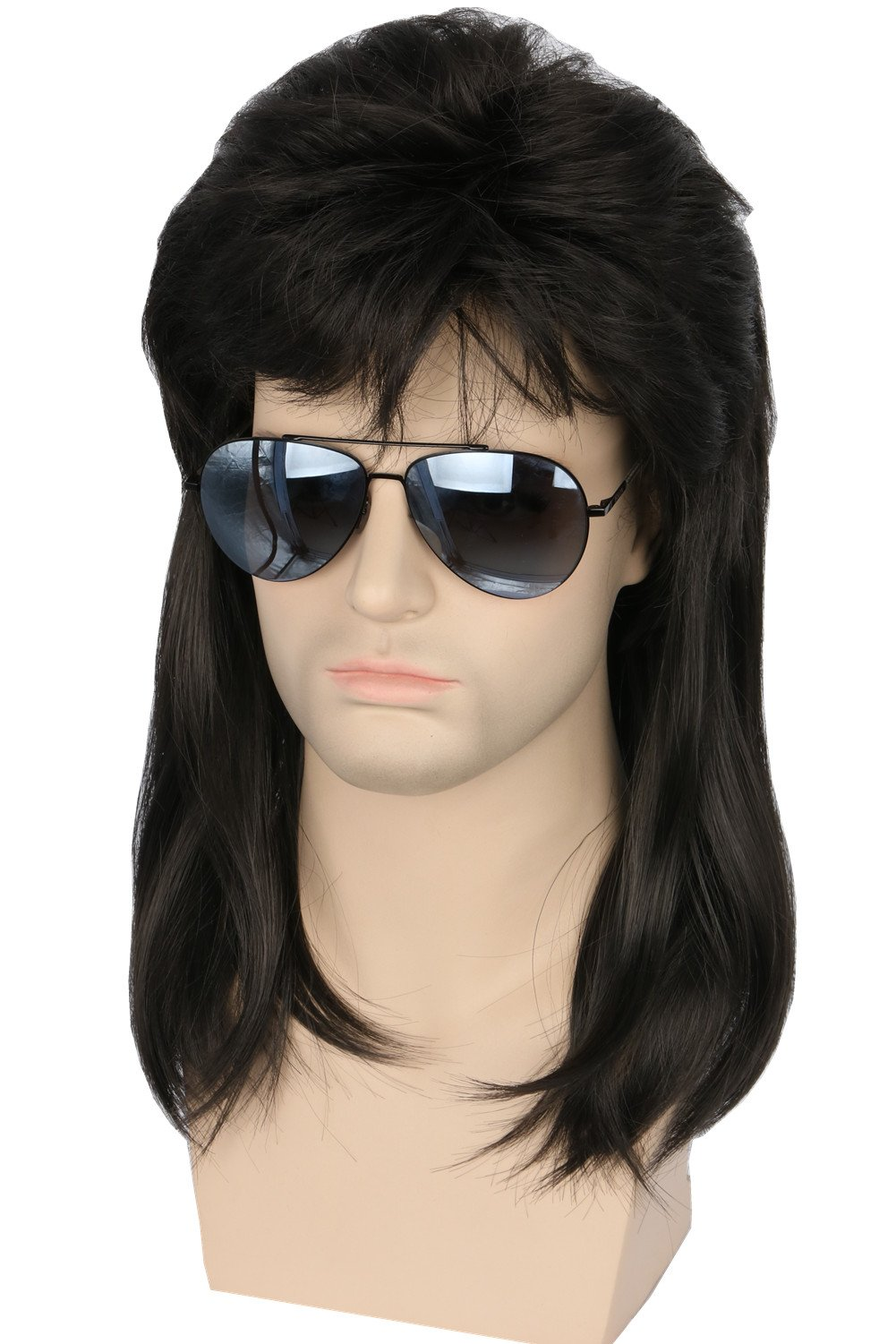 Topcosplay 80s Hair Wig Men Wayne Wig Rocking Dude Wig Punk Metal Rocker Disco Mullet Wig (Black Wavy)