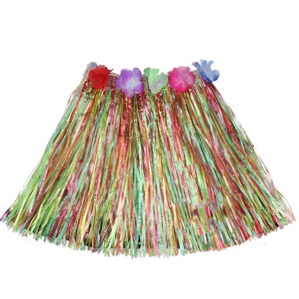 Luau Beach Party Halloween Costume Party Hawaiian Dance Hula Skirt Grass Skirt, multicolor by FC-party (Image #1)