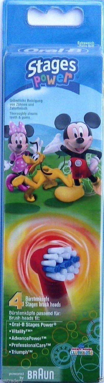 Braun Oral-B Stages Power Kids EB10-4K - Cabezales para cepillo de dientes eléctrico para niños (4 unidades), diseño de Mickey Mouse