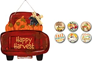 Modern Farmhouse Decor Autumn Tiered Tray Sign Decorations and Old Red Truck Fridge Magnets Welcome Pumpkins (Red Truck Sign Bundle)