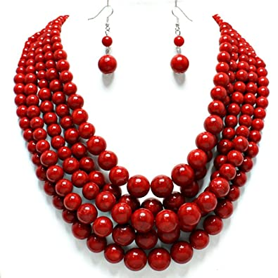 and making beads antique jewelry designed necklace for with red green indian