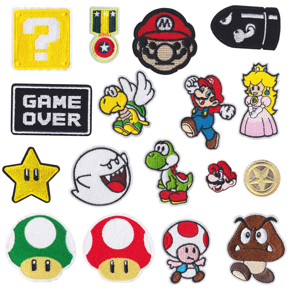 Mingjun 17 Pcs Mario Iron on Patches Badge Down Patch Padding Jeans Patch Stickers Embroidered Applique Hole Pattern Seam Subsidy DIY for Jeans Jackets, Clothing, Handbag, Shoes, Caps for Kids Adults