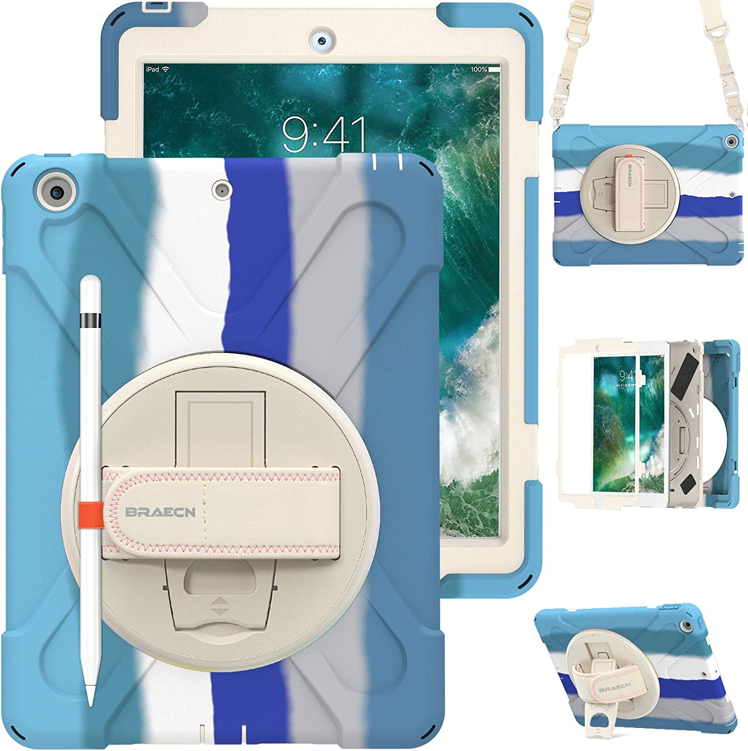 """BRAECN iPad 9.7 Inch Case 2018/2017, Heavy Duty Shockproof Case Cover with Adjustable Hand Strap, Carrying Shoulder Strap, Kickstand, Pencil Holder for Apple iPad 6th 5th 9.7"""" for Kids-Rainbow Blue"""