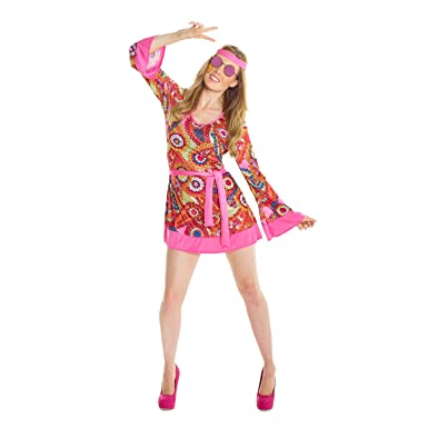 Morph Womens 1960s Hippie Costume Sexy 60s Dress Female 1960 Hippy Outfit For Women