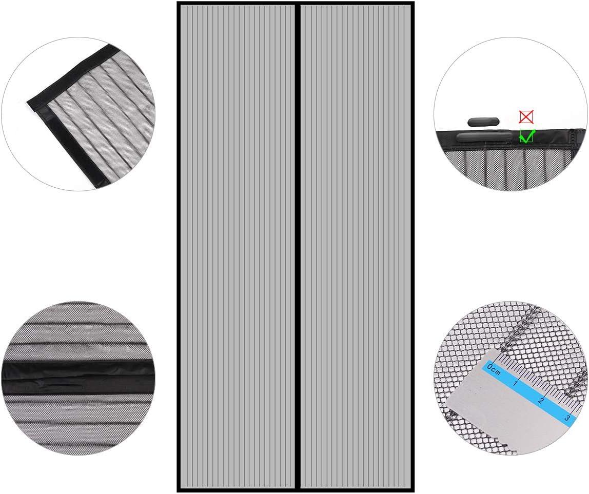 Aluminium T/üren und Balkon Einfache Installation 230 x 110cm, Schwarz Eisen Sekey Magnet Fliegengitter T/ür Vorhang f/ür Holz