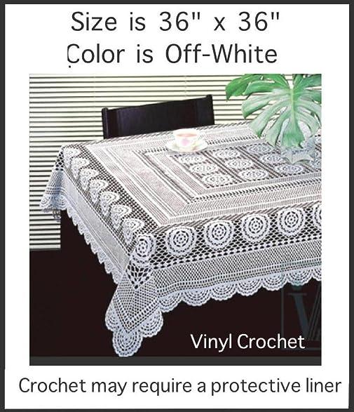 Nice Early American Design, PVC CROCHET Vinyl Tablecloth; Elegant, Easy To Care