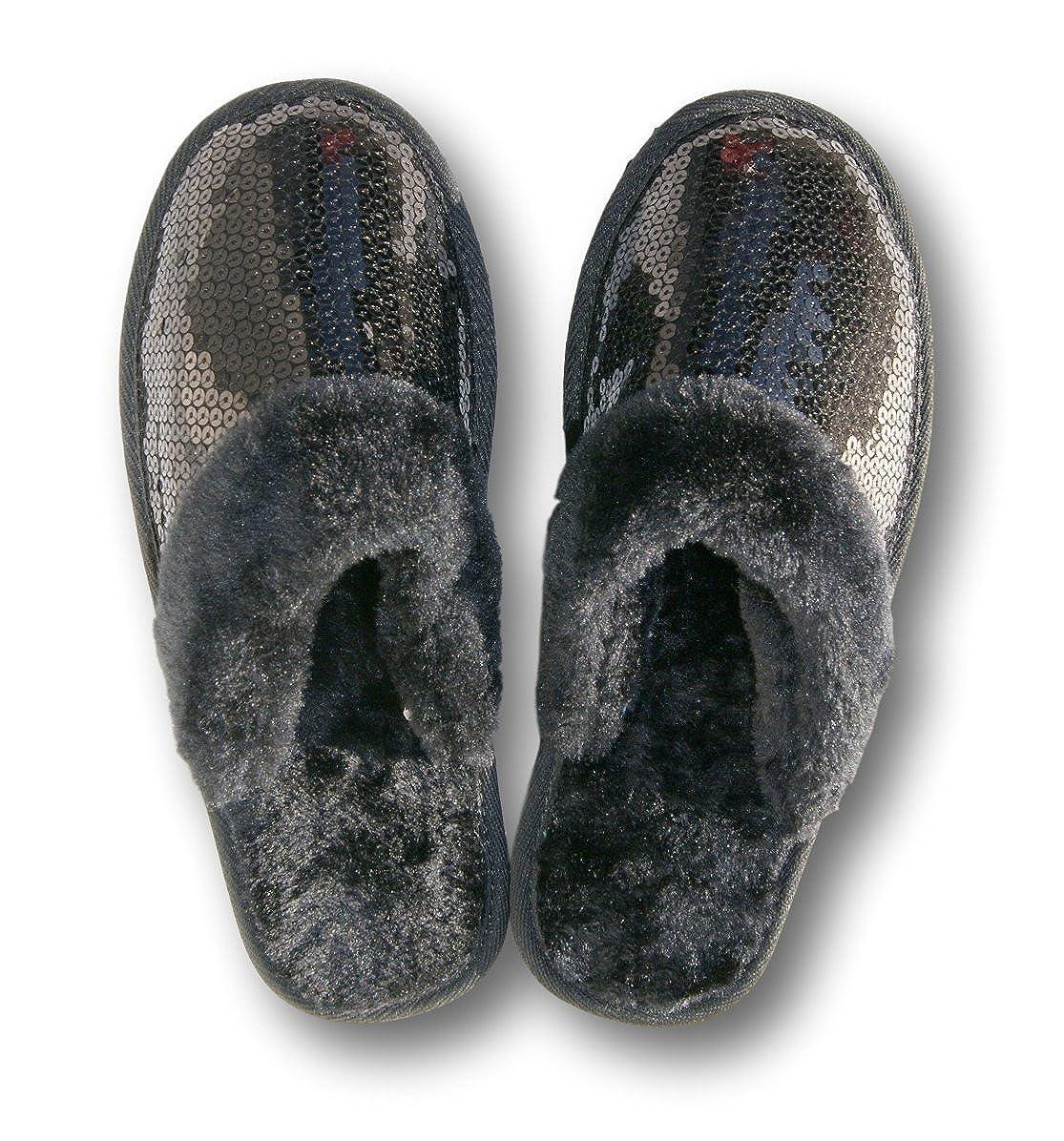 Girls Sequin Scuff Slipper Black Inc Retail