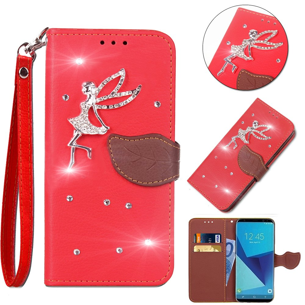 Leecase Bling Diamond Sparkle Glitter 3D PU Leather Bookstyle Magnetic Closure Wallet Flip Cover Creative Lovely Cute Fairy Rhinestone Leaf Pattern for Wiko Lenny 2-Red